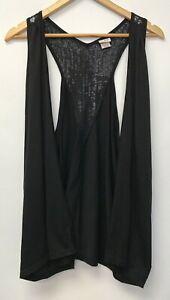 Judy-Knapp-Womens-Size-XL-Top-Black-Open-Front-Sleeveless