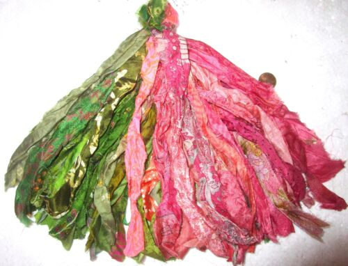 "LOT PURE SILK Vintage Sari TASSELS JOURNAL 50 STRANDS 8/"" Peach Henna #ABFQB"