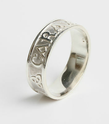 Irish Made .925 Sterling Silver Anam cara ring Soul mate 7mm wide size T