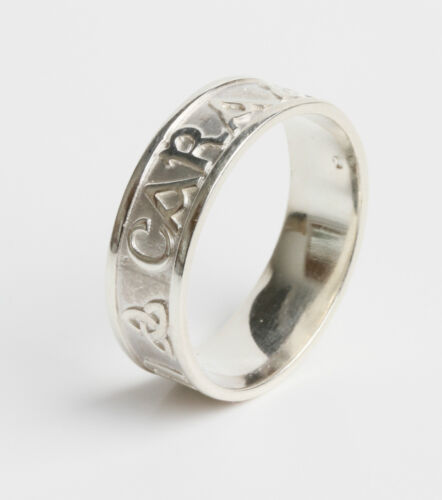 Irish Made .925 Sterling Silver Anam cara ring Soul mate 7mm wide size X
