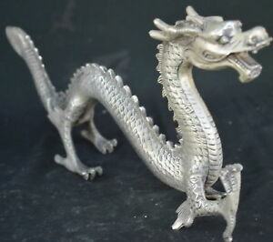 China-Collectable-Handwork-Miao-Silver-Carve-Exorcism-Dragon-Auspicious-Statue