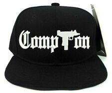 COMPTON WITH GUN LOGO Black Snapback Cap Hat Adjustable one size COMPTON GUN