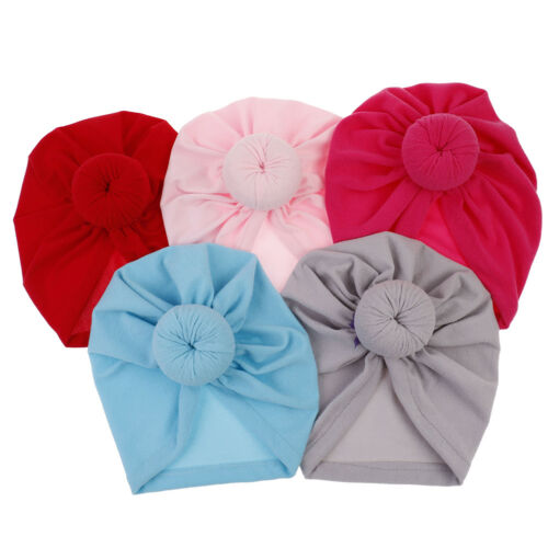 Color toddler infant baby kids cotton turban knot  hat head wrap headband