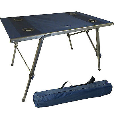 Portable Folding Adjustable Table Event Outdoor Camping BBQ Picnic Fishing Camp