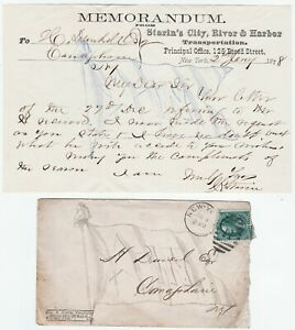 Signed-Letter-amp-Cover-John-Starin-Congress-Steamboat-NY-1st-Amusement-Park-1878