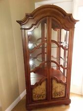 Hooker Furniture Curio Cabinet Wood Glass Shelves Fruit Design Panels Drawers