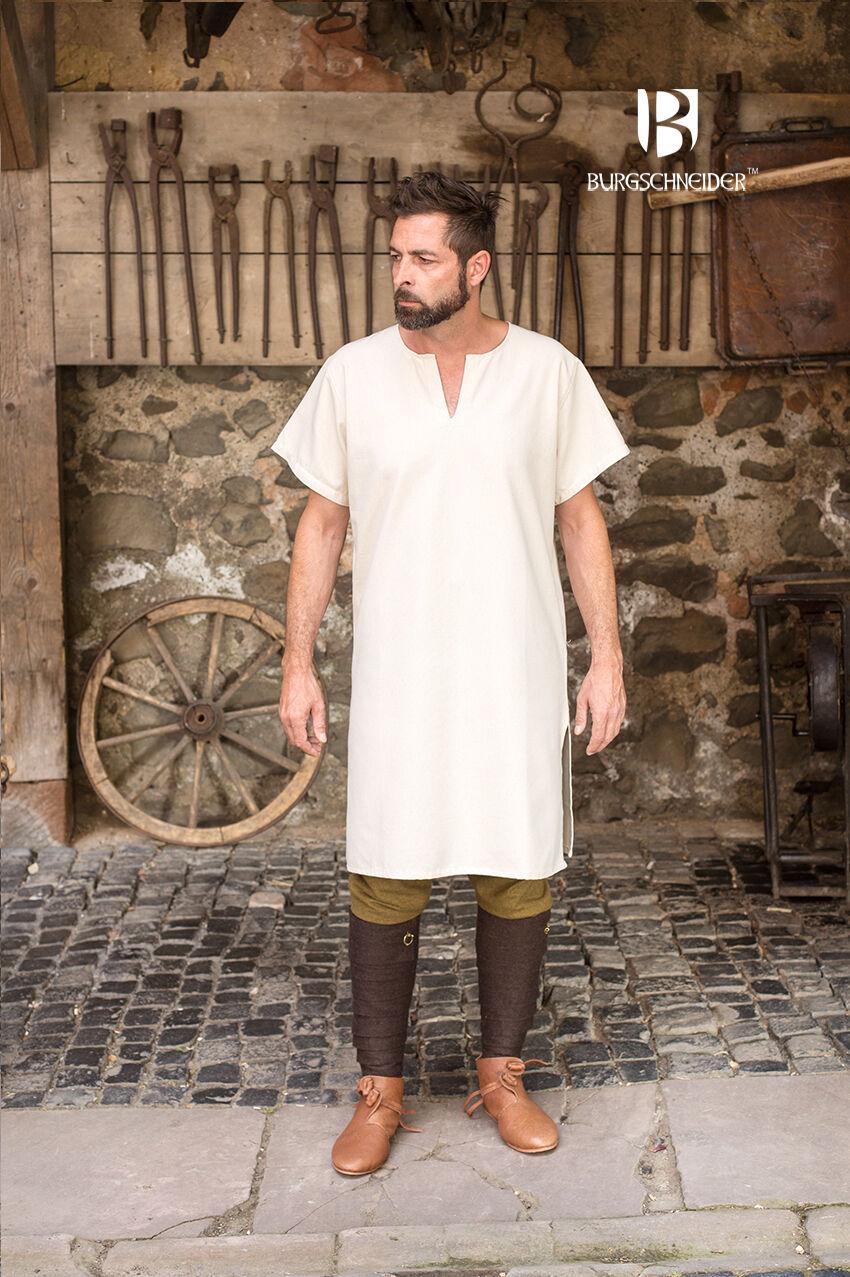 Medieval Untertunika short Sleeve Tunic Viking /Larp - Natural From