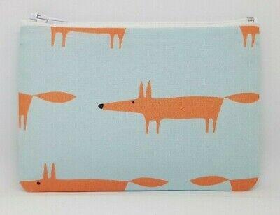 Scion /'Mr Fox/' Light Blue Fabric Handmade Zippy Coin Money Purse Storage Pouch