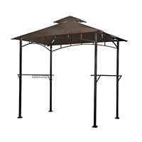 Grill Gazebo Soft Polyester Top With 4 Pieces Led Slanted Roof 8x5 Feet Durable