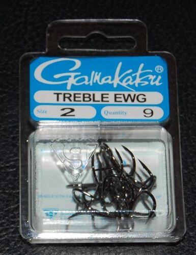 Size 2 EWG 9 Pack Gamakatsu 77409 Extra Wide Gap NS Black Treble Hooks