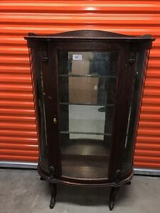 Round Oak China Cabinet Mirrored Back With Glass Shelves