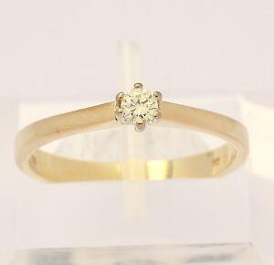 Ring-in-aus-585-14kt-Gelb-Gold-mit-Solitaer-Diamant-Brillant-Brilliant-Goldring