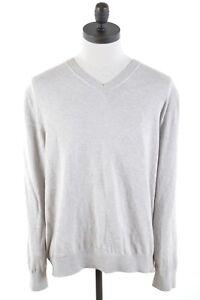 NAUTICA-Mens-V-Neck-Jumper-Sweater-XL-Beige-Cotton