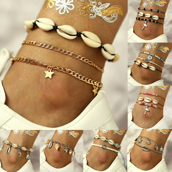 1set Bohemian Multilayer Cowrie Shell Anklet Foot Jewelry Summer Beach Gwq