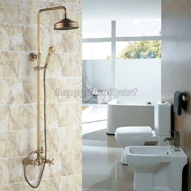 Laiton antique salle de bains pluie Douche robinet Set Double Poignées mitigeur Yrs034