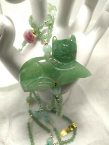 Vintage Carved Jade Cat Necklace Made In Tawain Original Tag Attached