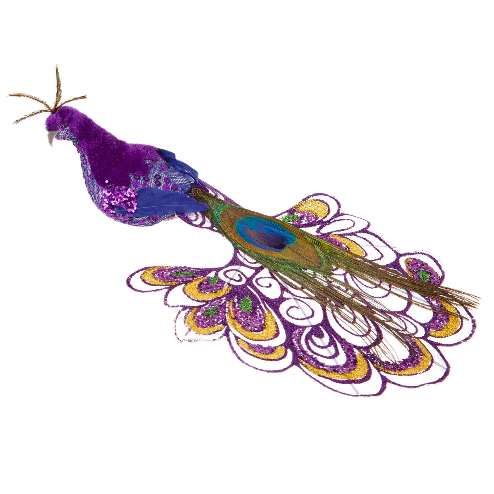 Trixes Purple Peacock Xmas Tree Decoration 21cm Ornament For Sale Online Ebay