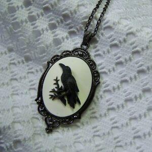 RAVEN SKULL PENDANT black enamel cameo necklace bird crow roses gothic goth 4Y