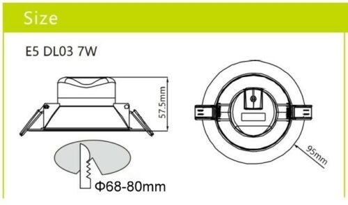 Bright 7W Recessed Ceiling Bathroom Shower Office Downlight 580lm LED IP44 860