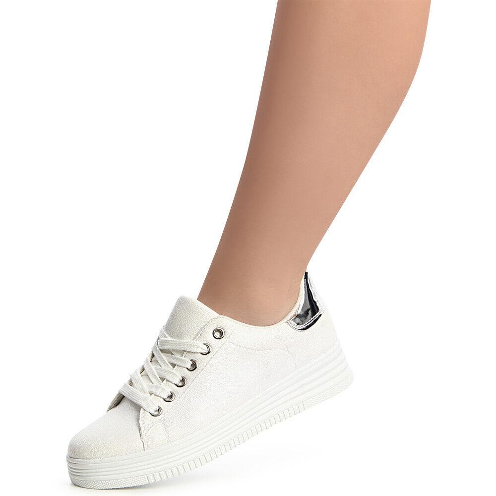 Chaussures Femme sport Baskets de sport Femme Skater métallique plateforme a91ee3