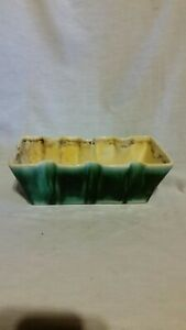 Vtg-Pottery-Green-Drip-Glaze-Flower-Pot-Ceramic-Succulent-Planter-Box