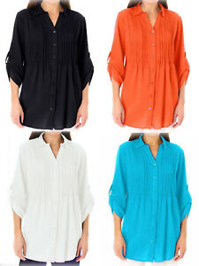 New-Ladies-Cotton-Collared-Shirt-Pintuck-Roll-Sleeve-Blouse-Top-Plus-Size-18-44