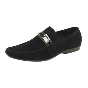 CRC-Nappa-Calfskin-Suede-Leather-Mens-Driving-Moccasin-Shoes-Men-039-s-Slip-On-Black
