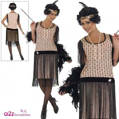 Women/'s 1920/'s Coco Flapper Great Gatsby Ladies Fancy Dress Costume Size 8-18