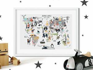 Mignon-carte-du-monde-Nursery-impression-photo-Pour-Garcons-Filles-Chambre-Style-Scandinave