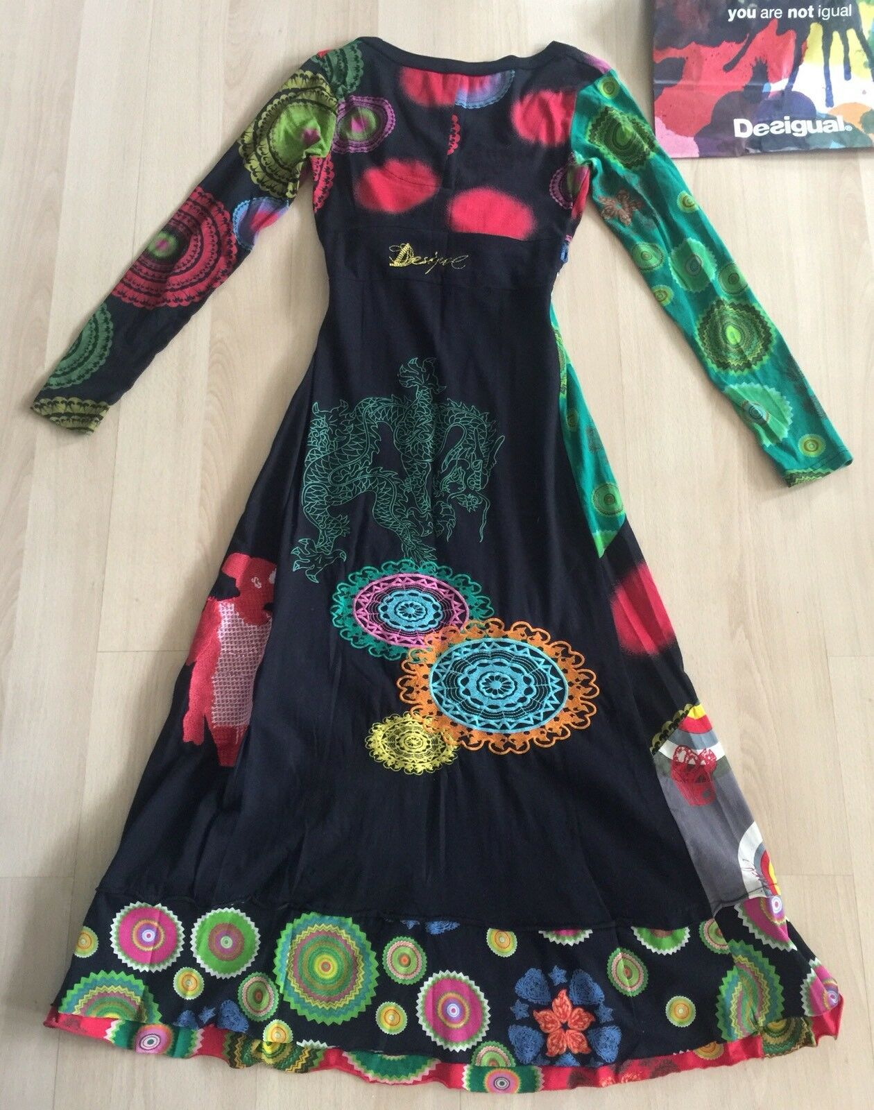 DESIGUAL DESIGUAL DESIGUAL colorful Dragon Dress Long Sleeves Cotton with Embroidery Size Small aacc64