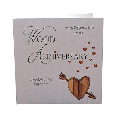 5th Wood Wedding Anniversary Card Gorgeous Wife Crystals Luxury Handmade Ebay