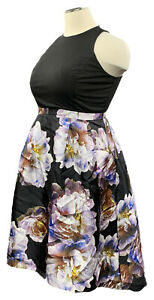 CITY-CHIC-16W-black-with-floral-taffeta-fit-and-flare-sleeveless-dress