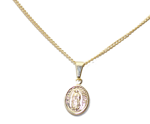 Virgen de Guadalupe Oval Medal 18K Gold Plated with 18 inch Chain Oval Medal