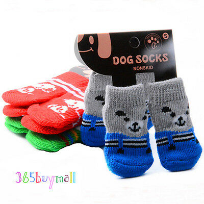 Non-slip Small Pet Dog Doggy Socks Soft Warm Knitted Puppy Socks Clothes Apparel