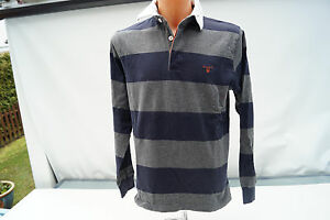 Gant-Polo-Homme-Manches-Longues-Pull-Sweat-Taille-M-Raye-Sportif-Top