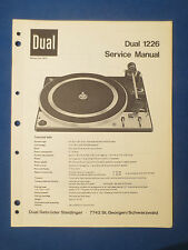 DUAL 1226 TURNTABLE SERVICE MANUAL ORIGINAL FACTORY ISSUE