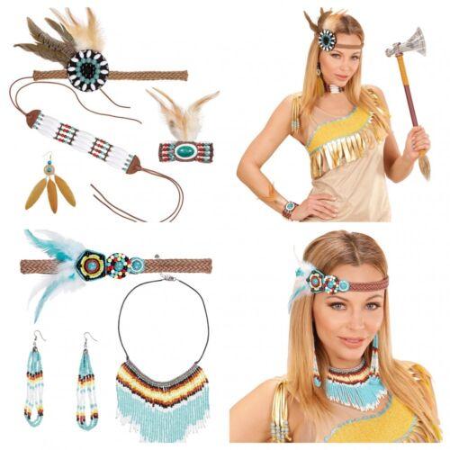 Stirnband Armband Ohrringe Halsschmuck Federn Perlen Zubehör Indianerin-Kostüm