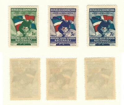 Dominikanische Republik,briefmarke,#326-328 Postfrisch Mit Scharnier,1937 Flagge Feine Verarbeitung