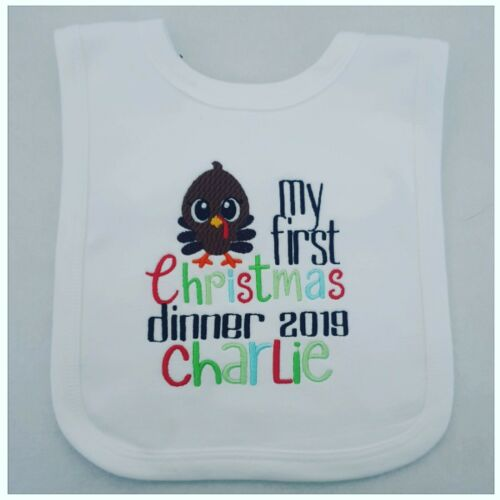 Personalised First Christmas Dinner Bib 1st Chrstmas Boy// Baby Clothing Gift