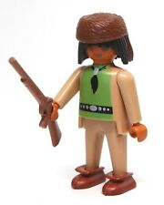 "Playmobil Figure Custom Western Indian Hunter Trapper ""Fur"" Hat Rifle Moccasins"