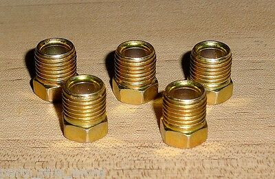 """Male Tube Nut Inverted Flare Fitting 2PC Kit  1//4/"""" Tube x 7//16/""""-24 Thread Gold"""