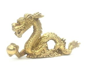 Chinese Brass Asian Dragon Metal Figurine Statue Home Office Feng Shui Decor