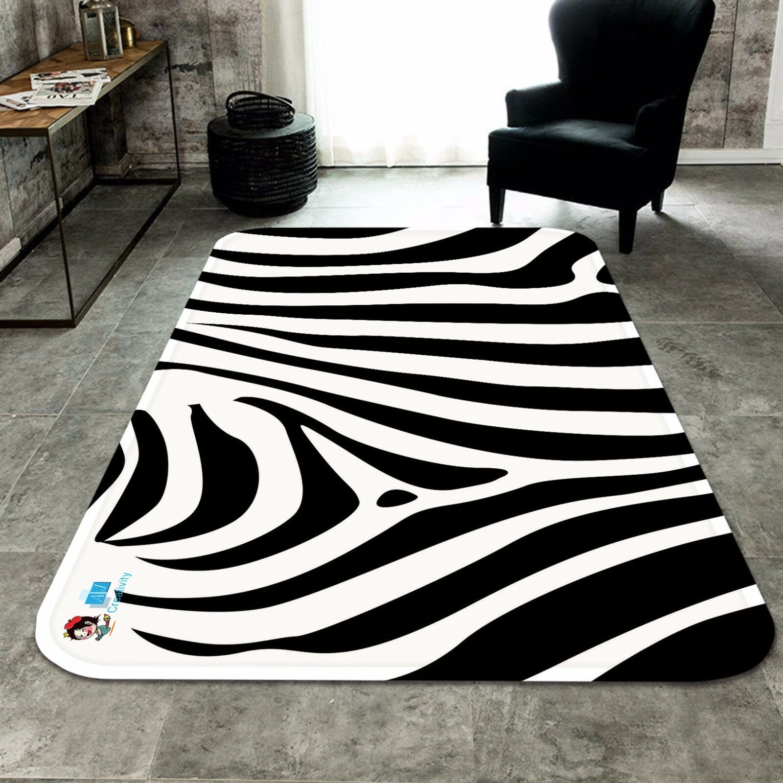 3D Zebra Lines 53 Non Slip Rug Mat Room Mat Quality Elegant Photo Carpet US