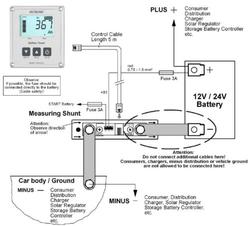 Votronic Dual Battery Monitor Gauge Meter RV Marine Boat Solar LiFePo4 Lithium