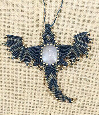 Boho Pendant Gemstone Pendant Macrame Jewelry Handmade Macrame Pendant LA-7097 Thebestjewellery Black Rutile cabochon Macrame Pendant with Thread
