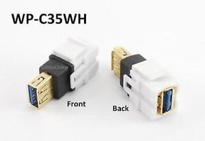 CablesOnline WP-C35WH White USB 3.0 A-Type Female//Female Keystone Jack Coupler