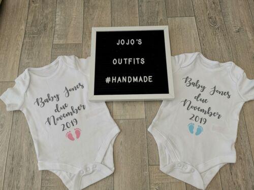 keepsake. Personalised pregnancy announcement vest//bodysuit Boys /& girls