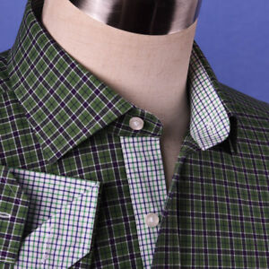 7b8521cc6db Details about Dark Forest Green Checkered Dress Shirt Men s Formal Business  Sexy Polo Design