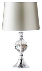 Argent-Abat-jour-Duchesse-Cristal-Verre-amp-Chrome-Lampe-De-Table-Chevet-Decor