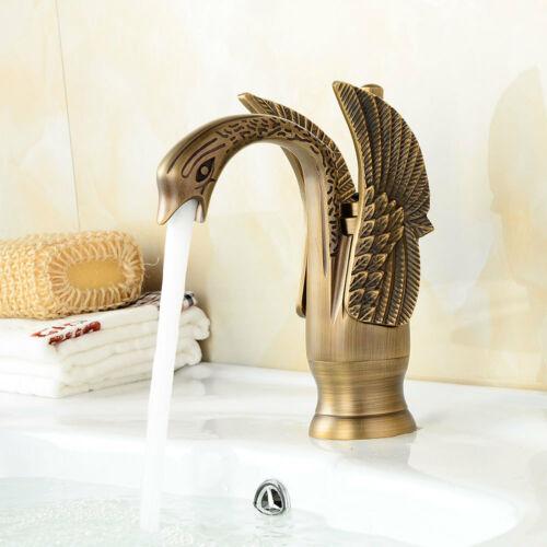Antique Brass Swan Shape Basin Sink Faucet Bathroom Single Hole Basin Mixer Tap